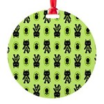 Green Cat Paw Pattern Round Ornament