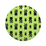 Green Cat Paw Pattern Ornament (Round)