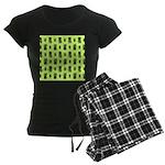 Green Cat Paw Pattern Women's Dark Pajamas