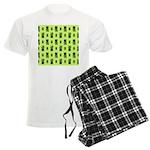 Green Cat Paw Pattern Men's Light Pajamas