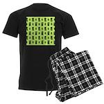 Green Cat Paw Pattern Men's Dark Pajamas