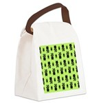 Green Cat Paw Pattern Canvas Lunch Bag