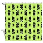 Green Cat Paw Pattern Shower Curtain