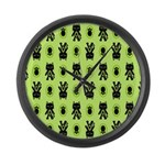 Green Cat Paw Pattern Large Wall Clock