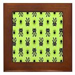 Green Cat Paw Pattern Framed Tile