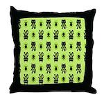 Green Cat Paw Pattern Throw Pillow