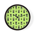 Green Cat Paw Pattern Wall Clock