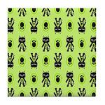Green Cat Paw Pattern Tile Coaster