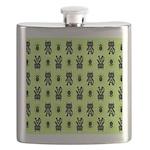 Green Cat Paw Pattern Flask