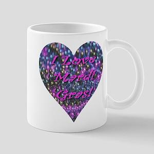 I Love Mardi Gras Bead Heart Mug