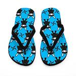 Turquoise Ninja Bunny Pattern Flip Flops