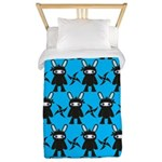 Turquoise Ninja Bunny Pattern Twin Duvet