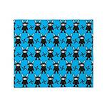 Turquoise Ninja Bunny Pattern Throw Blanket
