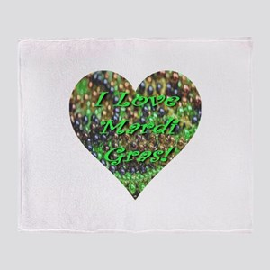 I Love Mardi Gras Bead Heart Throw Blanket