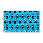 Turquoise Ninja Bunny Pattern 20x12 Wall Decal