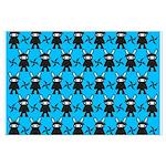 Turquoise Ninja Bunny Pattern Large Poster
