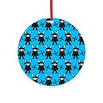 Turquoise Ninja Bunny Pattern Ornament (Round)