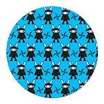 Turquoise Ninja Bunny Pattern Round Car Magnet