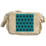 Turquoise Ninja Bunny Pattern Messenger Bag