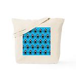 Turquoise Ninja Bunny Pattern Tote Bag