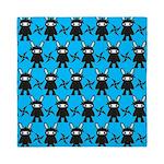Turquoise Ninja Bunny Pattern Queen Duvet