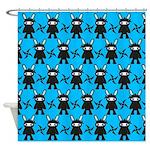 Turquoise Ninja Bunny Pattern Shower Curtain