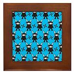 Turquoise Ninja Bunny Pattern Framed Tile