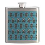 Turquoise Ninja Bunny Pattern Flask