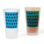 Turquoise Ninja Bunny Pattern Drinking Glass