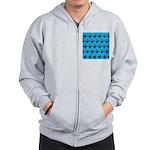 Turquoise Ninja Bunny Pattern Zip Hoodie