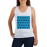 Turquoise Ninja Bunny Pattern Women's Tank Top