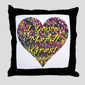 I Love Mardi Gras Bead Heart Throw Pillow