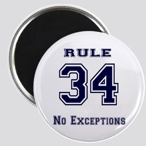 Rule 34 Collegiate Shirt - No exceptions Magnet