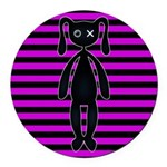 Goth Pink and Black Bunny Round Car Magnet