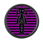 Goth Pink and Black Bunny Large Wall Clock