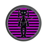 Goth Pink and Black Bunny Wall Clock