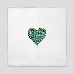 I Love Mardi Gras Bead Heart Queen Duvet