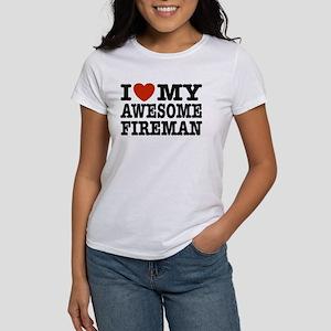 I Love My Awesome Fireman Women's T-Shirt