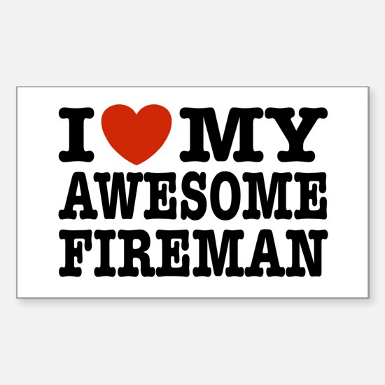 I Love My Awesome Fireman Sticker (Rectangle)