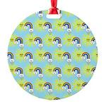 Kawaii Rainbow Pattern Round Ornament