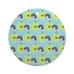 Kawaii Rainbow Pattern Ornament (Round)