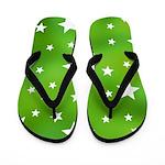 Lime Green Star Pattern Flip Flops