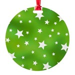 Lime Green Star Pattern Round Ornament