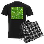 Lime Green Star Pattern Men's Dark Pajamas