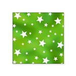 Lime Green Star Pattern Square Sticker 3
