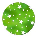 Lime Green Star Pattern Round Car Magnet