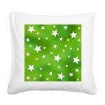 Lime Green Star Pattern Square Canvas Pillow