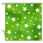 Lime Green Star Pattern Shower Curtain
