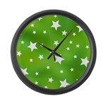 Lime Green Star Pattern Large Wall Clock