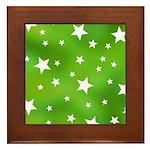 Lime Green Star Pattern Framed Tile